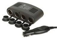 12VDC Car Cigarette Lighter Socket 4-Way Splitter with USB Port