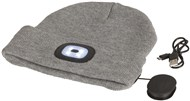 Grey Beanie with Bluetooth® Speakers and LED Torch