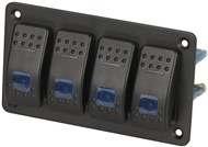 4 Way Illuminated Blue Rocker Switch Panel