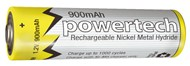 1.2V AAA 900mAh Rechargeable Ni-MH Powertech Battery - Nipple