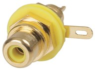 Gold RCA Socket - Yellow