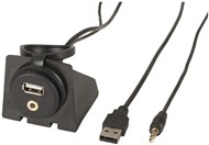 3.5mm AUX & USB Extension Cable with Mount