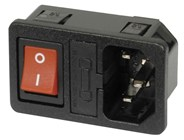 IEC Fuse Chassis Male Power Plug with Switch