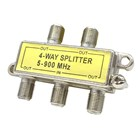 Four Way Splitter with Power Pass - F Connectors - Die cast