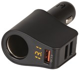 Car Cigarette Lighter Adaptor with 3 USB Charging Ports + Voltmeter
