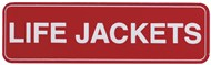 Adhesive Life Jackets Sign 100x30mm with Border