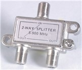 Two Way TV Splitter with Power Pass - F Connectors - Die Cast